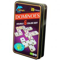 Домино цветное в жестяной коробке