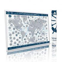 Стираемая карта мира, в круглом тубусе, синяя, А2