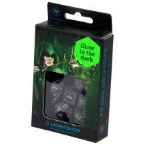 Набор кубиков Elvish, 7 шт., Black & glow-in-the-dark