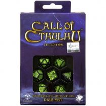 Набор кубиков Call of Cthulhu, 7 шт., 7th Edition Black/Green