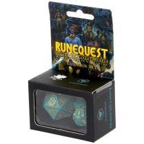 Набор кубиков RuneQuest Expansion, 3 шт., Turquoise/Gold