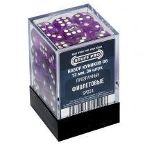 Набор кубиков D6. Прозрачные фиолетовые 12 мм. (36 шт)