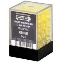 Набор кубиков D6. Прозрачные жёлтые 12 мм. (36 шт)