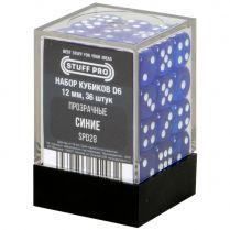 Набор кубиков D6. Прозрачные синие 12 мм. (36 шт)