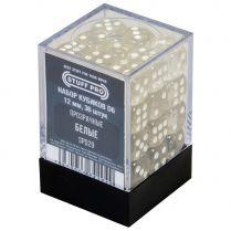 Набор кубиков D6. Прозрачные белые 12 мм. (36 шт)