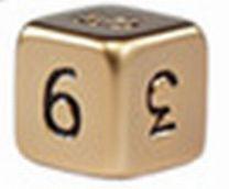 Кубик d6 Металлический 13мм с цифрами - Золотой