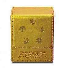 Коробочка Ultra-Pro кожаная на 100 карт: Символы маны, золотая